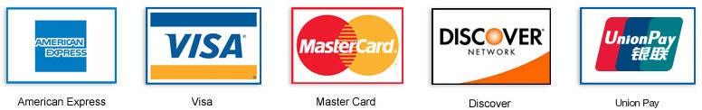 American Expres, Visa, Mastercard, Discover, unionpay